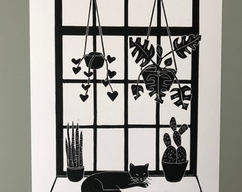Lino print, window cat (A4)