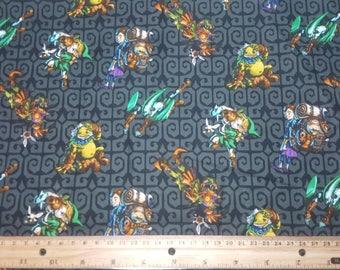Legend of Zelda Fabric, Majora's Mask Characters, Yardage or Fat Quarter, FQ, Link, Zorn, Goron, Skull Kid, Zelda Fabric, Nintendo Fabric,