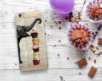 ELEPHANT Loves Cupcakes Dictionary Art iPhone 7 8 X Case, iPhone 7 Plus Case, Elephants Funny Animal iPhone 6s Plus Cover, iPhone 8 case
