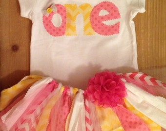 Pink and Yellow Birthday Tutu Outift