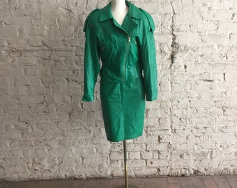 Michael Hoban for North Beach Leather 1980s green leather motorcycle jacket and bodycon skirt outfit