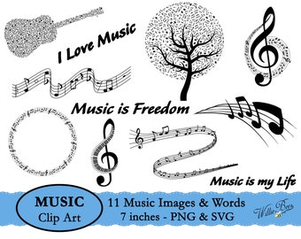 Music Images SVG, Musical Notes SVG, Music Symbol, Music PNG, Musical Instrument, Sing Songs, Love Music, Music Is Freedom, Instant Download
