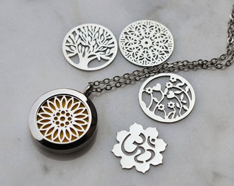 Stainless Steel Interchangeable Essential Oil Diffuser Necklace/Interchangeable Face Plate /Aromatherapy/ With 2ML Essential Oil