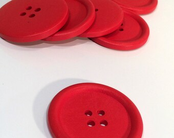 4 Painted Wood Button Four Hole Red Colour 40mm - 4 Pack NPB54