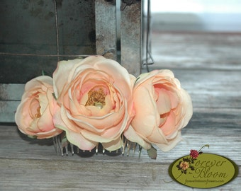 Real Touch Flower Hair Comb / Real Touch Floral Hair Comb / Silk Flower Hair Comb / Peach Flower Comb / Peach Floral Comb / Rose Hair Comb