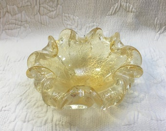 Murano Style Yellow Glass Gold Flakes Flower Form Art Glass Bowl, Ashtray, Italian Glass, Hand Blown Glass, Candy Dish, Nut Bowl