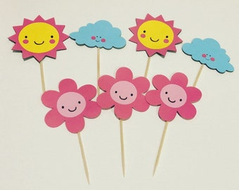 """12 """"You are my sunshine"""" Themed Cupcake Toppers"""