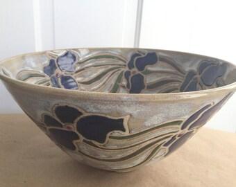 Large Studio Pottery Fruit Bowl Iris Motif Signed