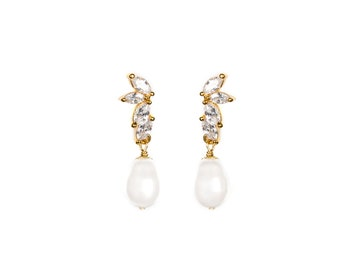 LOURDES | Crystal and pearl drop earrings - silver or gold