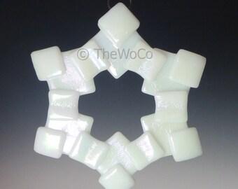 MERRY White Iridized Snowflake, Fused Glass Ornament Suncatcher
