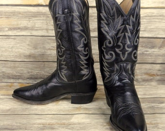 Dan Post Cowboy Boots Black Leather Mens Size 9.5 D Western Rockabilly Vintage