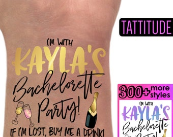 Personalized Bachelorette Tattoos   team bride tattoos, bridal party tattoos, if lost buy me a drink, custom brides name temporary tattoos