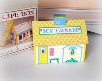 Vintage Recipe Box / Charming Ice Cream Shoppe - Never Used