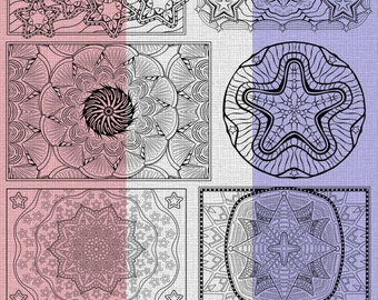 OrnaMENTALs™ Stars & Bars Coloring Bundle of 8 Star-Spangled Coloring Pages