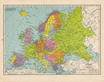 1940s Vintage Antique EUROPE Map original UK Italy France Spain Austria Germany