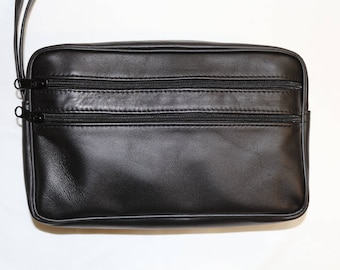 Lamb genuine leather pouch to strap black bellows