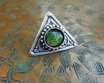 Basha Bead Ring Pink Peridot Green Matte Antique Silver Adjustable