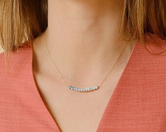 Genuine Opal Necklace, Ombre Blue Opal Row Necklace, October Birthstone Gift, Peruvian Opal Beaded bar: 14K Rose Gold Filled Sterling Silver