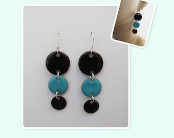 Black and Teal Circle Enamel Sterling Silver Long Geometric Earrings