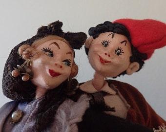 1950's original Klumpe souvenir dolls - Courting couple