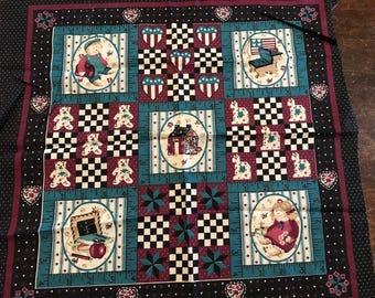 "Rural Estate Quilter's Stash SINGLE Vintage 19""x 17"" Cotton Blend Quilt Block Pillow Panel Black Teal Wine"