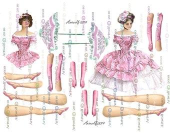 Instant Download DIGITAL PAPER DOLL  Pink Vintage  Ballerina Paper Doll Printable Paper doll