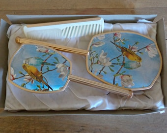 Hairbrush vanity mirror and comb set, vintage gold metal dressing table set with kitsch budgie decor