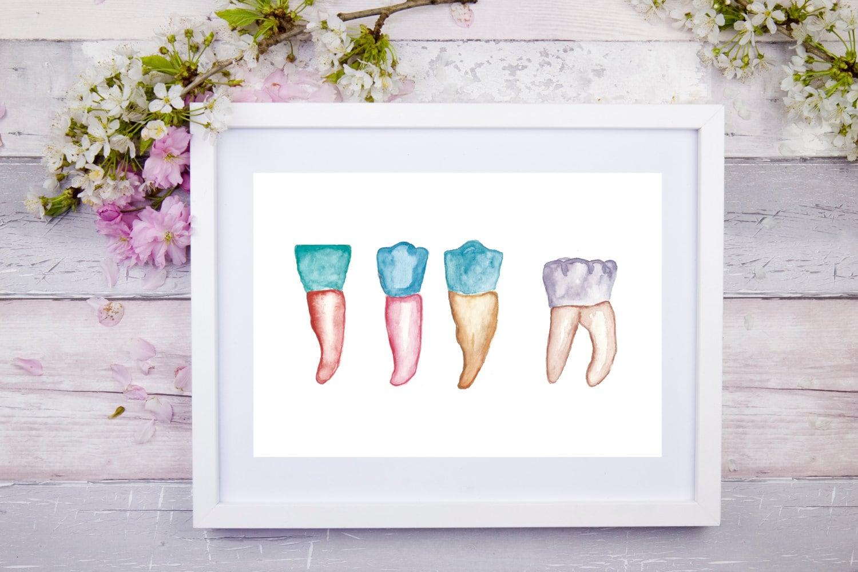 dental watercolor art dental art dentist print teeth