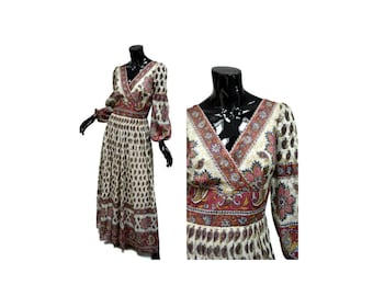 """Gauze Empire Waist Maxi Dress Vintage 70s, Size Small 8, Bust 34-35"""" ALTERED, Indian Print, Lined, Surplice Bodice, Empire Waist 1970s"""
