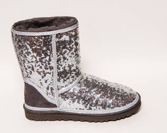 ... sequin sterling silver ugg classic short fuzzy custom boots