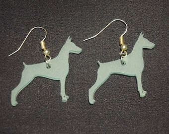 Teal Doberman Pinscher Acrylic Sea Glass Earrings