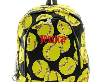Monogrammed Backpack Personalized Softball Backpack Personalized Backpack Kids Backpack Girls Backpack Boys Backpack