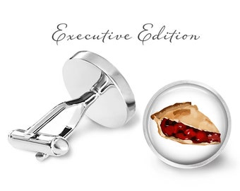 Cherry Pie Cufflinks - Pie Cuff Links - Cherry Cufflink - Cherry Pie Wedding Cuff Links (Pair) Lifetime Guarantee (S0411)