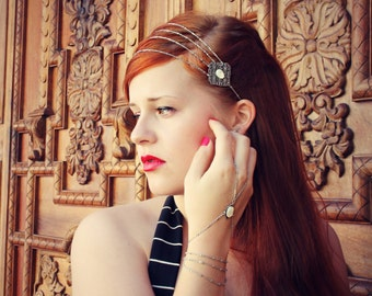 chain head piece mother of pearl and silver , bridal headband, grecian headband, metal headband, unique headband