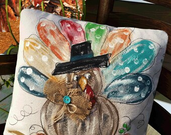 Turkey Day Pillow, Thanksgiving, Holiday Decorations, Decorative Accent Pillow, Indoor, Outdoor Pillow, Hand Painted, Pillow Cover