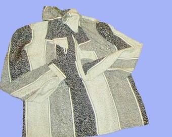 David Hayes Vintage Silk Blouse Black-Cream