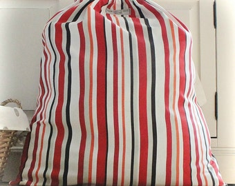 Extra Large Laundry Bag, Laundry Sack in Orange & Red Striped Cotton Fabric With Drawstring