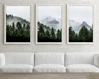 Mountain Wall Art Print Set of 3, Forest Wall Art Set of Three, Mountain Photography Print, Nature Photography Digital Download Instant
