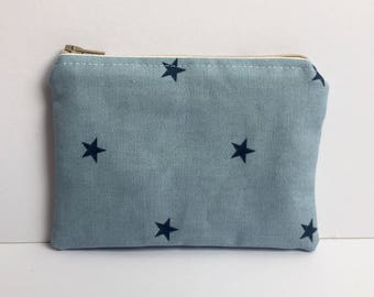 Handmade coin purse/zipper pouch/purse made with linen cotton and fully lined with a tan cotton fabric