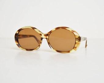 Vintage 60s 70s Round Oversized Tortoise Sunglasses