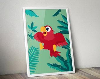 Displays green Parrot for child's bedroom - immediate download