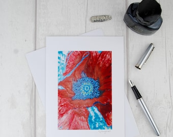 Unique Modern Fine Art Card, Mixed Media Painting Blank Greeting Card,Red Poppy Flower Photographic Print, Encouragement, Ladies Birthday