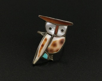 Vintage Southwestern Sterling Silver Turquoise MOP Shell Owl Ring Size 6
