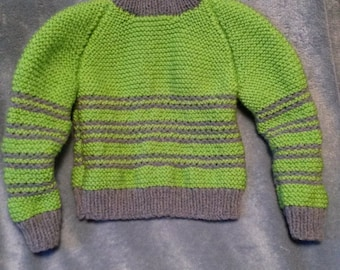 Size 3T Lime Green sweater with turtle neck and blue stripes