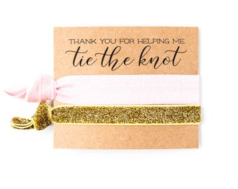 Pink + Gold Bridesmaid Gift Hair Ties | Light Pink Hair Tie Bridal Shower Favor, Gold Glitter Wedding Shower Favor, Bridesmaid Gift