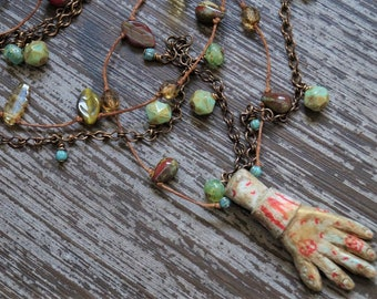Multi Strand Urban Necklace - Brass and Pale Turquoise - Polymer Clay Necklace - Hand Necklace - Primitive - Bead Soup Jewelry