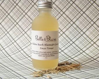Willow Bark Blemish Control Face Toner- Plant Based Organic Skin Care- Natural Facial Toner- Floral Toner- 2oz