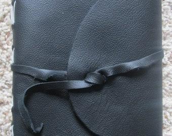 Handmade leather journal Blue/white