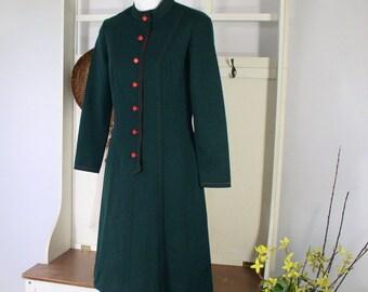 1960's Dress Mod Dress Vintage Green Long Sleeved A Line Bleeker Street Size Small