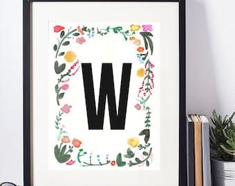 Watercolor print, Floral Monogram, Watercolor Monogram, Floral Alphabet, Watercolor Alphabet, Digital Print, Watercolor Download, W Monogram